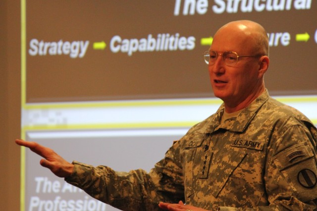 Gen. Robert W. Cone, commanding general of U.S. Army Training and Doctrine Command, discusses the structural and human transitions needed to reposition the future force and shape the Army of 2020 during the 2012 Reserve-Component General Officer Conference at Camp Robinson, Ark., March 26, 2012.