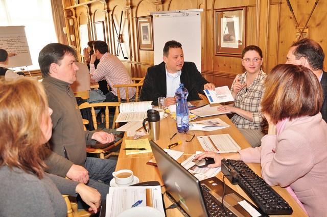 Team members brainstorm during the U.S. Army Garrison Wiesbaden's Strategic Planning Workshop March 20-21.