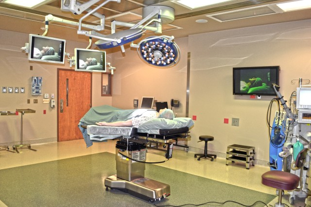 A mannequin lays inside one of the new operating rooms at the Grand Junction Department of Veterans Affairs Medical Center March 23, 2012, in Grand Junction, Colo. The U.S. Army Corps of Engineers Sacramento District oversaw construction of the $13 million surgery floor addition, which adds two specialty operating rooms and two general operating rooms. (U.S. Army photo illustration by Carlos J. Lazo/Released)