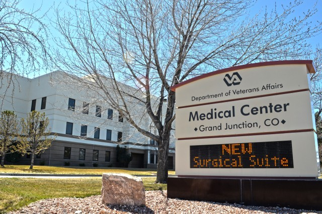 The new surgical floor addition is highlighted on the marquee of the Grand Junction Department of Veterans Affairs Medical Center in Grand Junction, Colo., March 23, 2012. The U.S. Army Corps of Engineers Sacramento District oversaw construction of the $13 million addition. (U.S. Army photo illustration by Carlos J. Lazo/Released)