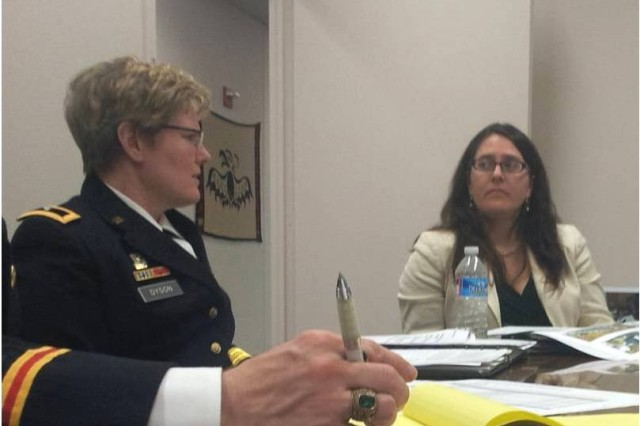 BG Karen Dyson, OBT (left) and Ms. Lisa Danzig, HUD (right) lead a collaborative session between Army and HUD staffers.