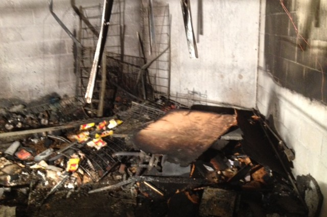 A fire broke out in a storage room at the NCO Club Monday evening. The fire was blamed on an overloaded extension cord. Smoke damage has forced the club to shut down temporarily.