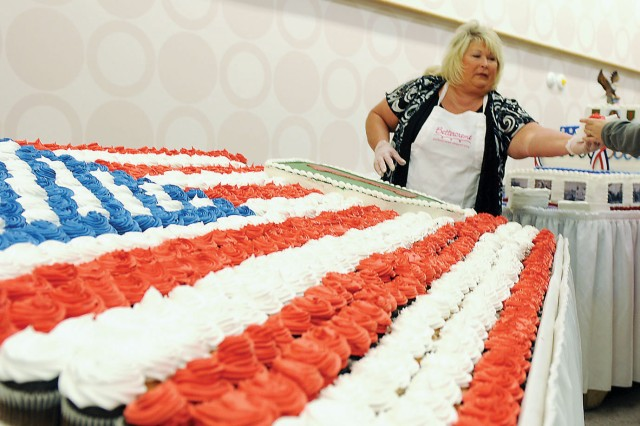 Cupcakes placed in the shape of an American flag were one of the many food giveaways available March 13 following the ribbon-cutting ceremony of the Fort Riley Commissary.