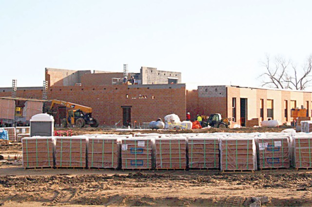 A glimpse into construction taken in February shows that LTG Richard J. Seitz Elementary School is well on its way to completion. The new school is slated to open in the Camp Forsyth area this fall.