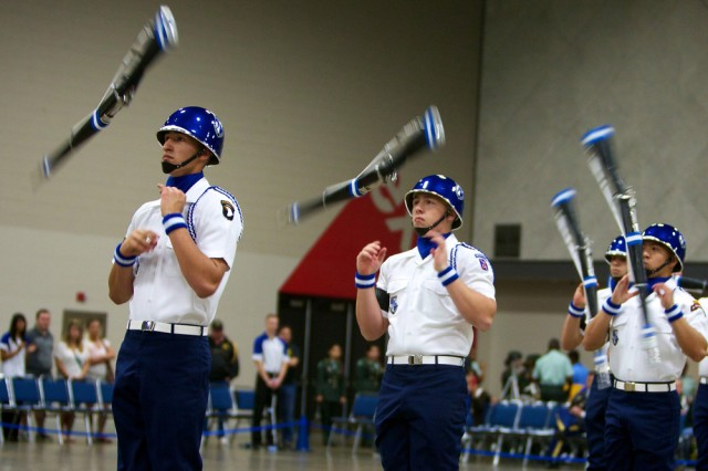 Douglas MacArthur High School competes in armed exhibition during Saturday's first Army National JROTC Drill Championships at the Kentucky International Convention Center in Louisville. Douglas MacArthur won both the armed and unarmed division titles.