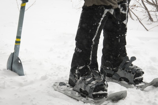 Special Forces Master Mountaineering Course instructors and students must use snowshoes in order to hike through the deep mid-February snow at Rocky Mountain National Park in Estes Park, Co.