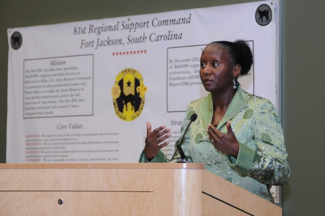 Command Sgt. Maj. (Ret) Yolanda Lomax was the guest speaker during the 81st Regional Support Command celebration of Women's History Month on March 28. CSM Lomax started her military career in 1979 and retired after over 30 years of service.