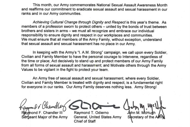 Sexual Assault Awareness Month tri-signed letter