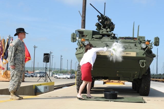 Deanie Richardson, wife of 3rd Cavalry Regimental Commander Col. John D. Richardson IV, broke a champagne bottle on the front of a Stryker, officially christening the regiment's fleet, and cementing 3rd Cav's status as the Army's ninth and final Stryker unit.