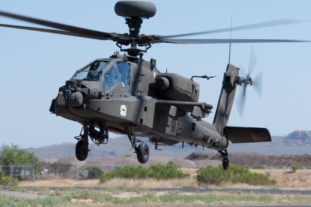 A new Apache Block III aircraft lifts off the runway at the Boeing complex in Mesa, Ariz.  The AH-64 Apache Block III next-generation attack helicopter is finishing up its Initial Operational Test and Evaluation at Fort Irwin, Calif., and should be ready to deploy with Soldiers sometime next year.