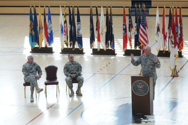 Chief of Staff of the Army Gen. Raymond T. Odierno holds a town hall at Wiesbaden Army Airfield, April 3, 2012, in Wiesbaden, Germany.