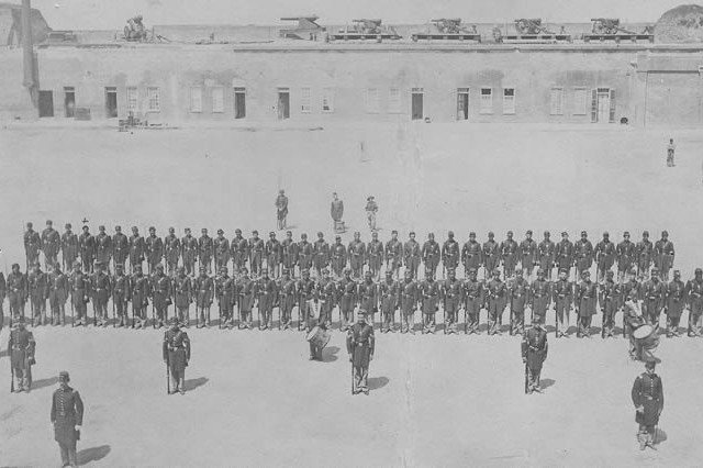 Soldiers of the 48th New York Volunteer Infantry Regiment on parade in 1863. Corporal William Howard, the author of a diary just added to the collection of the New York State Military Museum, was a member of this regiment.