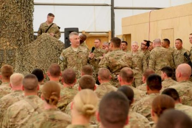 Sgt. Maj. of the Army Raymond F. Chandler III speaks to troops from Combined Task Force Viper at a town hall meeting at Forward Operating Base Spin Boldak, Afghanistan. During the one-day visit, he gave them words of encouragement and spoke about the upcoming changes in the Army.