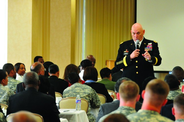 Chief of Staff of the Army Gen. Raymond T. Odierno talked to U.S. Army Europe about future Army opportunities during his tour of the European Theater, April 3, 2012. He is pictured here speaking at The ROCKS, Inc. 2012 National Leadership and Training conference at Fort Belvoir, Va., March 30.
