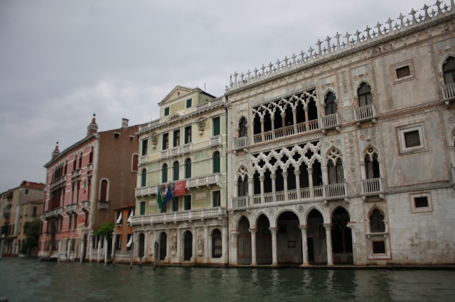 Venetian Gothic, an architectural style that is unique to the city of Venice, is represented in many of the archways and facades along the Grand Canal.