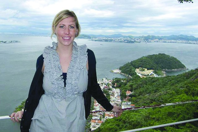 Picatinny Arsenal engineer Lauren Armstrong atop Sugar Loaf Mountain in Rio de Janeiro, Brazil, on the fifth day of a science exchange aimed at increasing the participation of women in science, technology, engineering and mathematics.