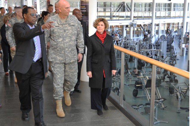 Andrew L. Snoddy, community recreation division chief, U.S. Army Garrison Grafenwoehr, and Chief of Staff of the Army Gen. Raymond T. Odierno, tour the Grafenwoehr Physical Fitness Center, April 3.