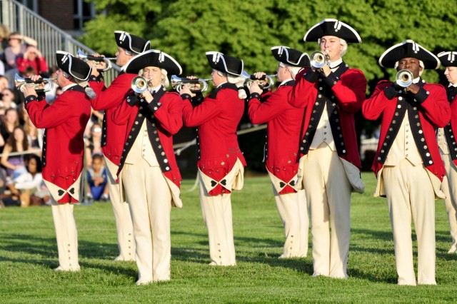 The Fife and Drum Corps, 3d U.S. Infantry Regiment (The Old Guard), performs during Twilight Tattoo on May 11, 2011 at Fort Lesley J. McNair, Washington, D.C. The Fife and Drum Corps averages approximately 500 performances a year.