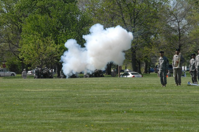 Maj. Gen. Jeff Smith received a round after the cannons were fired in his honor during the post change of command Friday. Photo by Kellie Etheridge, the Fort Knox Gold Standard.