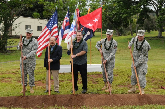 Left to right: Lt. Gen. Francis J. Wiercinski, commanding general, U.S. Army Pacific; U.S. Senator Daniel Inouye; Robert King, president Niking Corporation; Col. Douglas Mulbury, commander, U.S. Army Garrison-Hawaii, Douglas Guttormsen, commander, U.S Army Corp Engineer, Honolulu district, break ground at the site of the headquarters USARPAC's new command and control facility, April 9, 2012, on Fort Shafter, Hawaii.