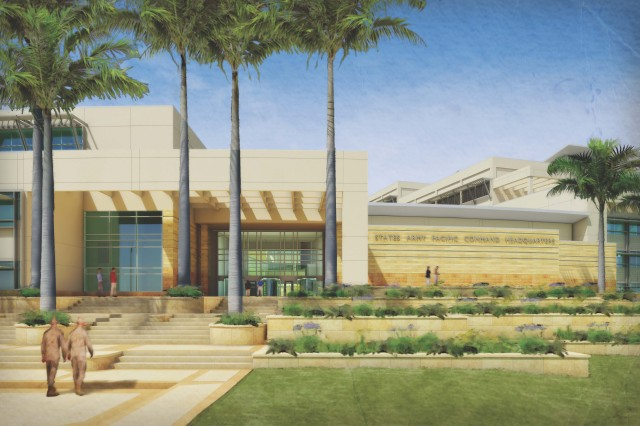 This is an artist's rendition of the new U.S. Army Pacific headquarters command and control facility. A groundbreaking ceremony was held April 9, 2012, to inaugurate the site of the new facility located on Fort Shafter, Hawaii.