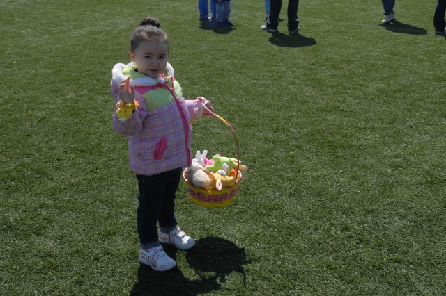 Eggs were found and baskets were filled during the Eggstravaganza on April 7 at Camp Humphreys, Korea.