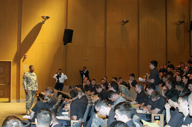 Lt. Gen. Vincent Brooks took questions from the Class of 2012 cadets in the MX400 class during his visit to West Point April 4.