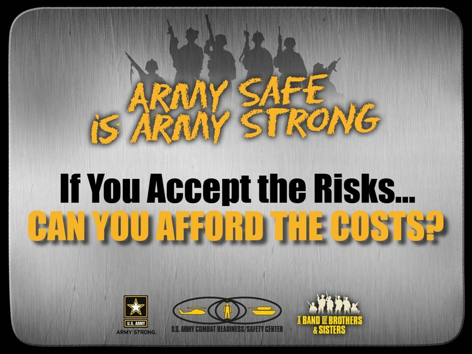 army safety Supplement the army safety program responsibilities defined in ar 385-10, the army safety program, and da pam 385-10, army safety program additionally, these instructions incorporate the requirements of the occupational safety and health (osh) act of 1970 this sop shall assist supervisors, managers, military and civilian.