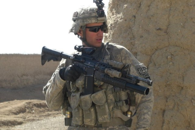Sgt. Felipe Pereira serves with Task Force Strike, 101st Airborne Division, in Kandahar Province, Afghanistan.  Despite a collapsing lung and shrapnel wounds, he rescused fellow Soldiers from an ambush Nov. 1, 2010 and will be awarded the Distinguished Service Cross.