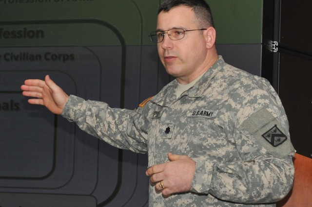 Lt. Col. Bill Speier conducts Army profession and ethics training at Yongsan Garrison, South Korea, April 2, 2012.