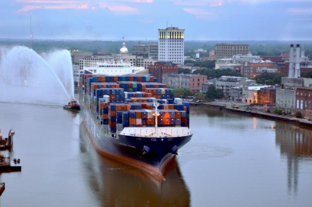 GEORGIA -- The CMA CGM Figaro comes into the Port of Savannah in August of 2010. This Post Panamax vessel came in on high tide carrying only 50 percent of its total capacity to avoid dragging the bottom of the river. To address the needs of vessels like the Figaro, the Savannah Harbor Expansion Project examined the engineering alternatives, environmental impacts and economic costs and benefits of deepening the Savannah Harbor and shipping channel. The Final Report concludes that deepening the Savannah Harbor from its current depth of 42 feet to 47 feet is economically viable, environmentally sustainable, and in the best interests of the United States. The 47-foot plan would yield $174 million in annual net benefits to the nation with a cost-to-benefit ratio of 5.5 to 1.