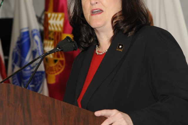 "The Hon. Katherine Hammack, assistant secretary of the Army for installations, energy and the environment, announces plans for the launch of a ""Green Warrior Convoy"" of vehicles from Warren, Michigan to Washington D.C. as part of the road testing of technologies and systems developed at the Tank Automotive Research, Development and Engineering Center (TARDEC)."