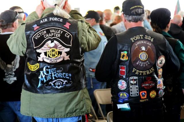 Veterans cheer during Fort Irwin's Vietnam-era Veterans Welcome Home ceremony, April 4, 2012.