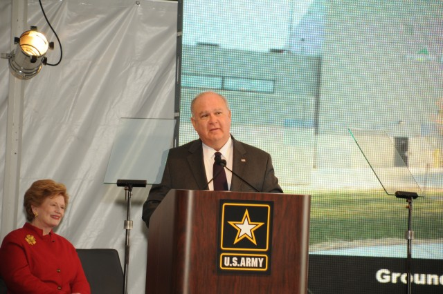 Under Secretary of the Army Joseph Westphal speaks at the Ground Systems Power and Energy Laboratory opening ceremony at Detroit Arsenal in Warren, Mich., April 11, 2012.