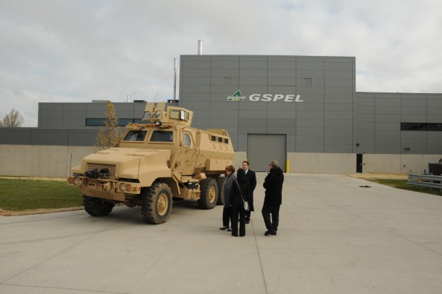 Visitors arrive for the opening ceremony of the Ground Systems Power and Energy Laboratory at Detroit Arsenal in Warren, Mich., April 11, 2012.  The GSPEL is a 30,000-square-foot facility featuring eight state-of-the-art power and mobility laboratories.