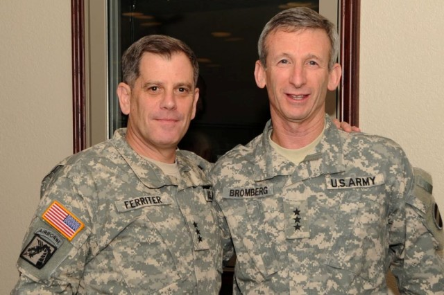 LTG Mike Ferriter, left, commander of Installation Management Command, and LTG Howard Bromberg, deputy commander of U.S. Army Forces Command, at the Rehearsal of Concept drill held on Fort Polk, La.