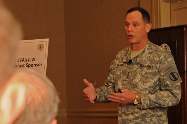 Lt. Gen. Keith C. Walker, U.S. Army Training and Doctrine Command deputy commanding general for Futures told members of the Association of the U.S. Army, April 12, 2012, that the Army would have to think more about the probable, the possible and the unthinkable in order to move forward.