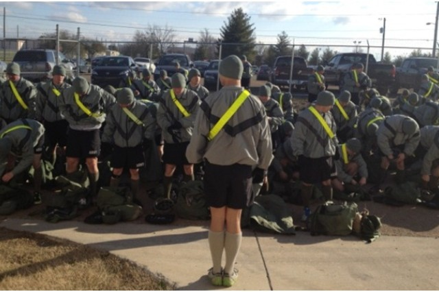 Soldiers of the 101st Airborne Division review equipment issued as part of the Rapid Fielding Initiative.