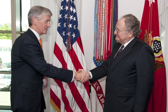 Secretary of the Army John McHugh congratulates Thomas Kershaw after administering the oath of appointment as the Civilian Aide to the Secretary of the Army for Massachusetts at the Pentagon, April 16, 2012. CASAs are usually business or civic leaders who possess a keen interest in the welfare of the Army and their communities, serving a two-year term without compensation.   (U.S. Army Photo by Staff Sgt. Bernardo Fuller)