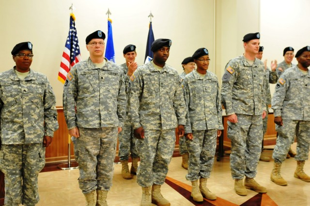 These six Soldiers and three others were honored and recognized during the April 15 Welcome Home Warrior-Citizen Soldier ceremony, held at Heritage Hall, Rock Island Arsenal, Ill. (Photo by Megan McIntyre, ASC Public Affairs)