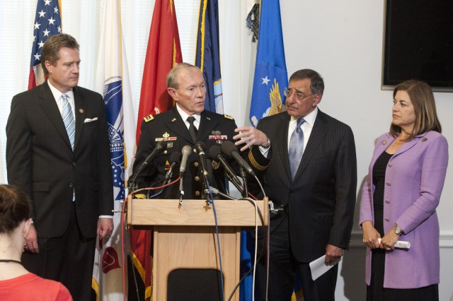 From left to right: U.S. Rep. Michael Turner of Ohio, Gen. Martin E. Dempsey, chairman of the Joint Chiefs of Staff, Defense Secretary Leon E. Panetta and U.S. Rep. Loretta Sanchez of California, participate in a press briefing at the House of Representatives in Washington, D.C., April 16, 2012. DOD photo by