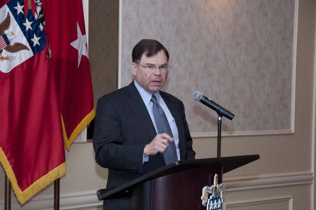 James R. Locher III, veteran Washington insider and former executive director of the Project on National Security Reform, discusses state of U.S. strategy during an evening banquet at the U.S. Army War College's 23rd annual Strategy Conference at Carlisle Barracks recently.