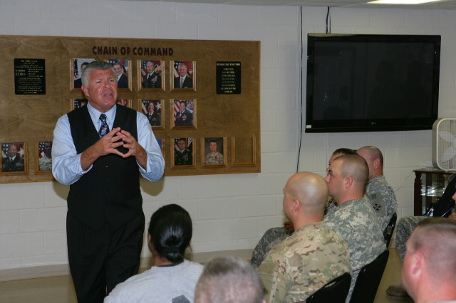 Bob Delaney, NBA Cares ambassador, speaks with Warrior Transition Unit Soldiers April 11 at Fort Sill, Okla. about his experiences as an undercover New Jersey state policeman and his battles with post traumatic stress. The former NBA referee shared some concepts that helped him heal and move on with his life.