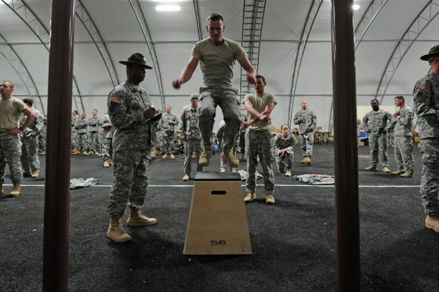 The first challenge in the 2012 Best Sapper competition is for each team member to crank out a minimum three sets of 10 jumpups, five pullups and five hanging heel-touches within 10 minutes while monitors keep track.