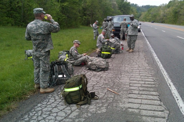 Soldiers from the Fort Knox, Ky., Warrior Transition Battalion recently participated in a two-day, approximately 30-mile foot march from Fort Knox to Kosair Children's Hospital in downtown Louisville, Kentucky.