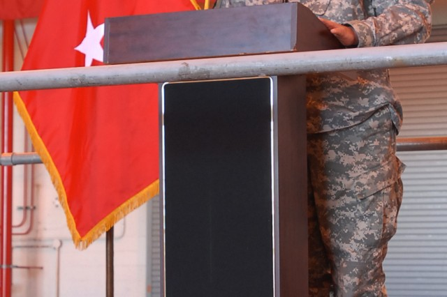 Brig. Gen. David L. Weeks, commander, 411th Engineer Brigade addresses Soldiers, families and community members during the unit's departure ceremony at Stewart Air National Guard Base, Newburg, N.Y. April 19, 2012. The group of Army Reserve Soldiers known as Task Force Empire will spend approximately a year in Afghanistan supporting the International Security Assistance Force Joint Command to improve security, development and governance.