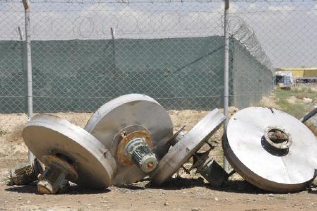 These four wastewater aerators were replaced April 8 as part of an upgrade to the Afghan National Army