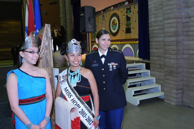 Kelleigh Lynch-Sewequaptewa, Princess of the Lori Piestewa V.F.W. Post 80, April Pavinyama, Miss Hopi 2011-2012 and Sgt. Amanda Lockwood-Engel at the Hopi Code Talker Recognition Day ceremony on April 23 in Kykotsmovi, Ariz.