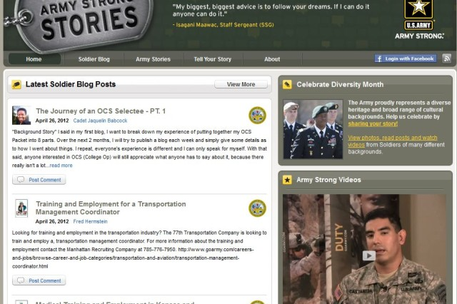 ArmyStrongStories.com, the U.S. Army's premier Soldier blog and storytelling community, recognizes and celebrates diversity with Soldier blog posts and video stories.