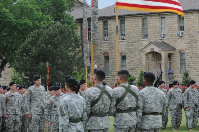 "The 4th Infantry Brigade Combat Team, 1st Infantry Division Color Guard returns to formation with the cased ""Dragon"" Brigade colors during an April 26 ceremony at Fort Riley. The brigade and battalions' colors and company guidons were cased during the ceremony as their Soldiers prepare for a nine-month deployment to Afghanistan."